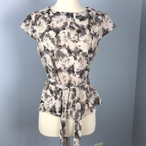 H & M career wear floral neutral blouse top